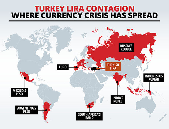 A map of the currency's affected