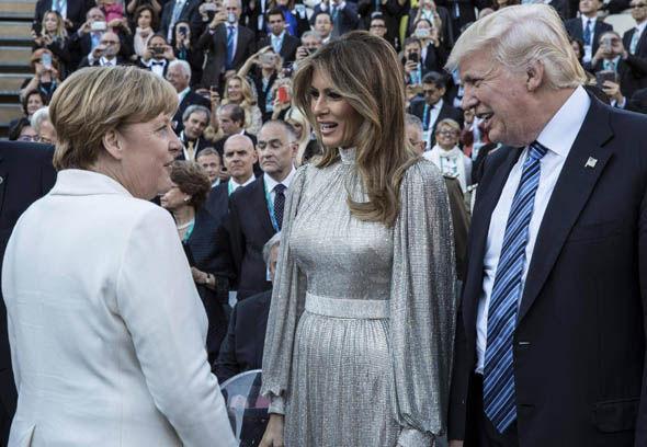 Angela Merkel, Donald Trump and Melania