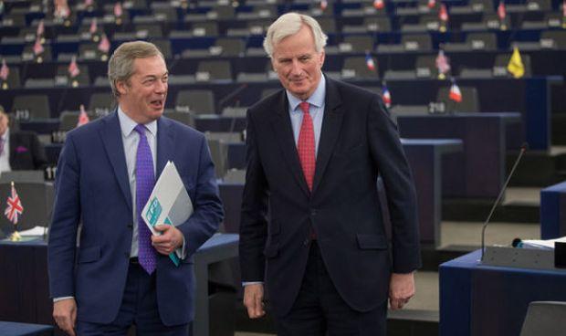 Nigel Farage and Michel Barnier