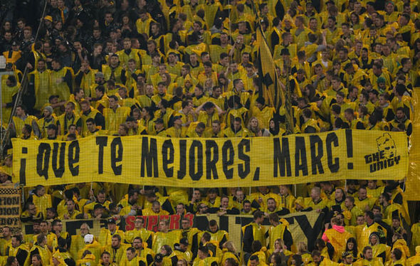 Borussia Dortmund fans show support for Marc Bartra