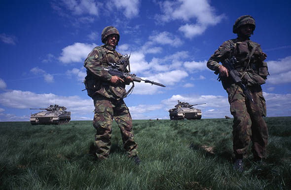 British troops on exercise in the Uk