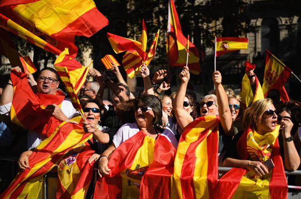 Pro-unity supporters in Barcelona