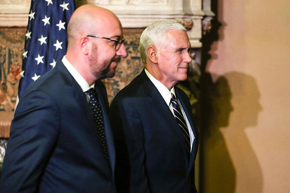 Charles Michel and Mike Pence
