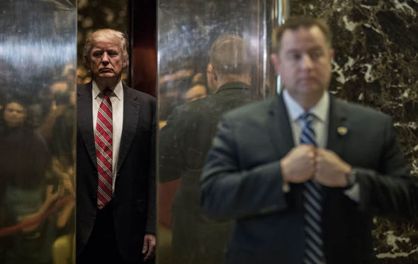 Donald Trump in his gold lift in Trump Tower