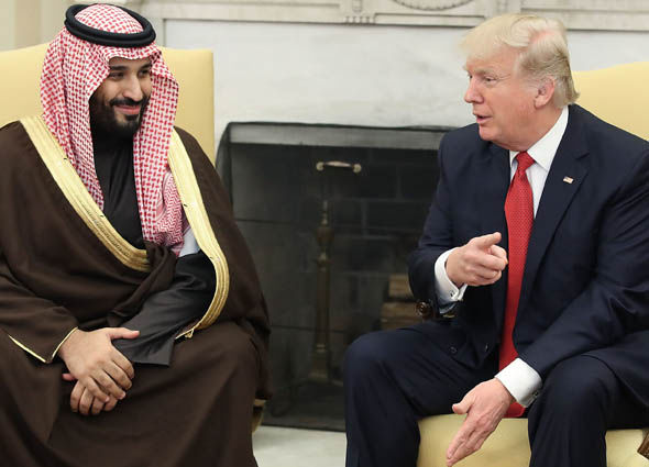 Donald Trump sitting down with Mohammed bin Salman