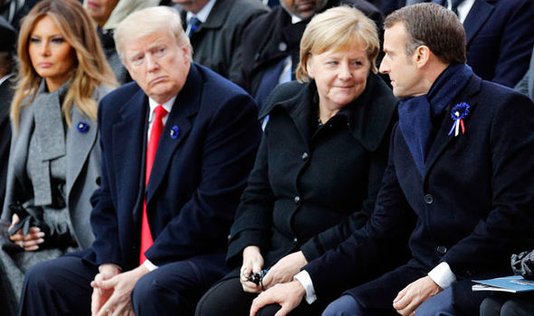 Donald Trump with world leaders at the Remembrance Day service