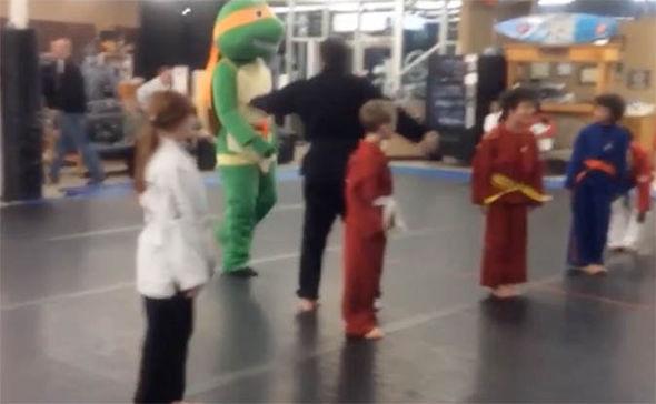 Ninja Turtle walks in to Martial Arts class