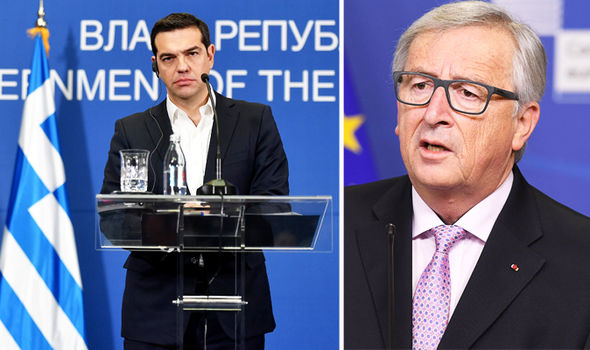 Greek PM Tspiras and EU Juncker