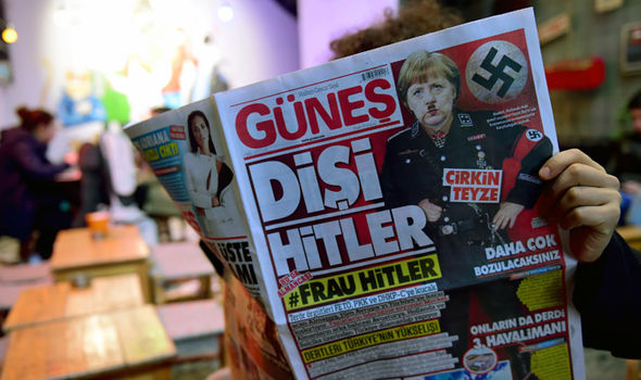 Earlier in March, a Turkish newspaper printed this front page depicted Merkel as a Nazi