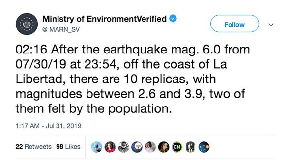 Earthquake hits El Salvador: Ministry tweet