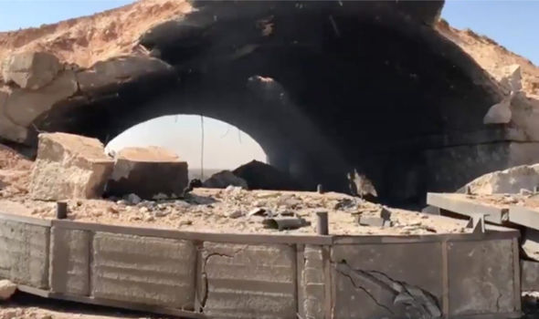 Footage of the destruction following the airstrike