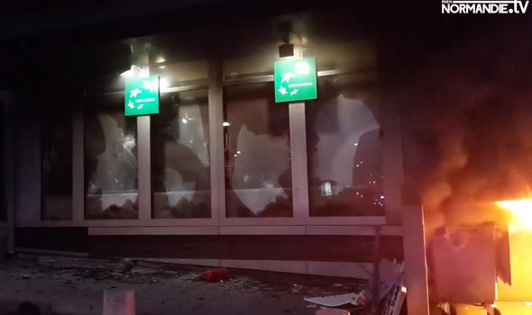 The windows of the bank BNP Paribas were smashed in at Rouen
