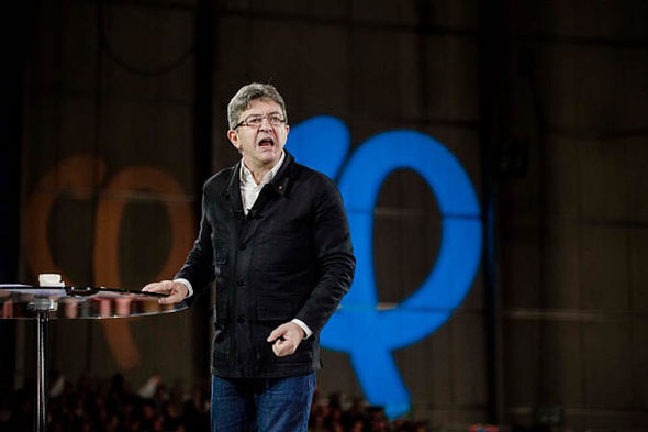 Jean-Luc Melenchon at a rally