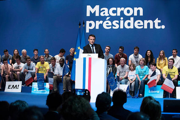 Emmanuel Macron at a rally