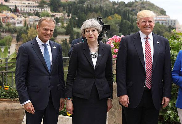 G7 summit: Donald Trump, Theresa May, Donald Tusk
