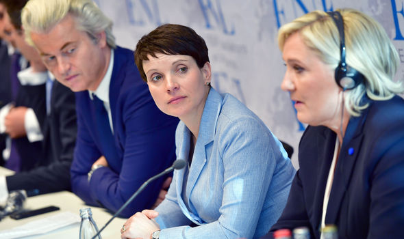 Geert Wilders (Dutch PVV), Frauke Petry (AfD) and Marine Le Pen (French Front National)