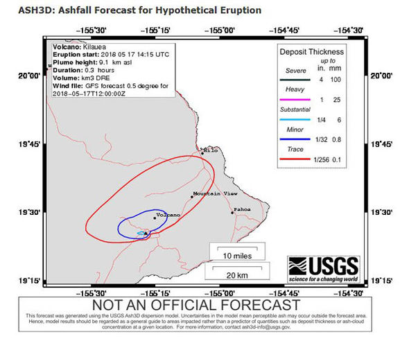 Map showing projected ash fall