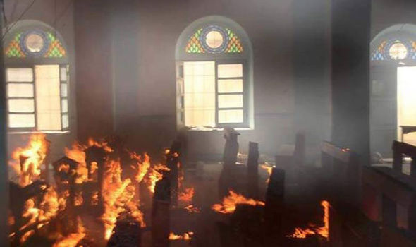 Christian church was burnt to the ground by ISIS zealots