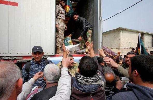 Aid convoy in Mosul, Iraq