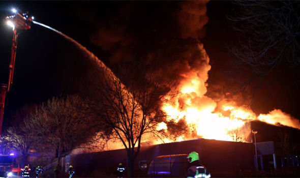 Flames outside the Islamic Centre
