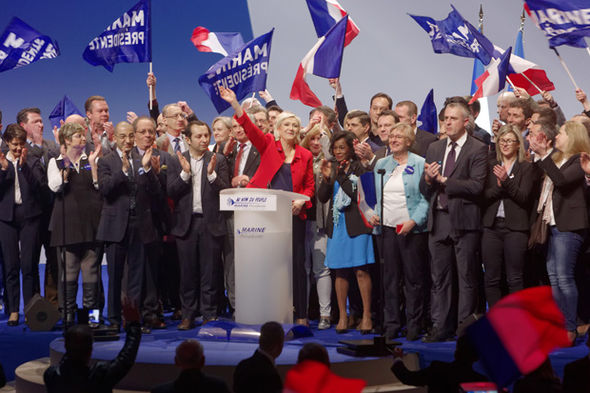 Le Pen was joined by staff and supporters on stage at the Lille rally