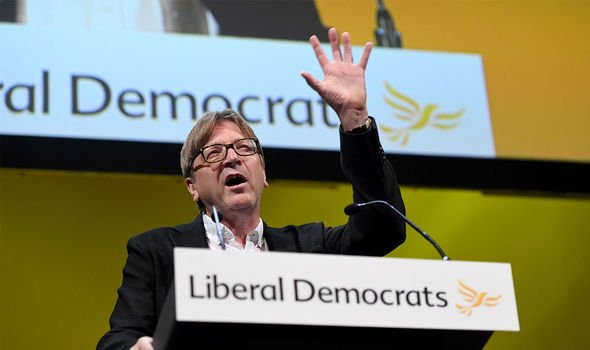 Liberal Democrats: Verhofstadt spoke at a Lib Dem conference in London ahead of the 2019 election