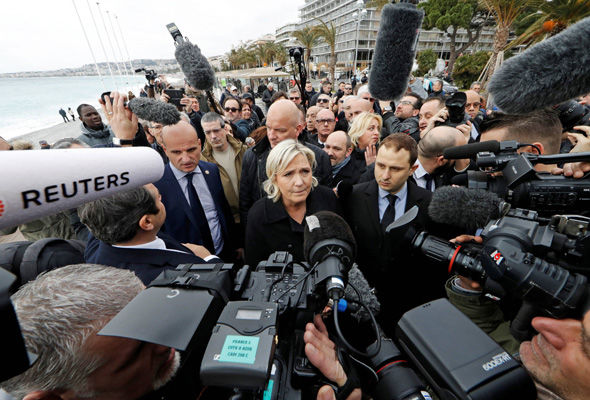 The Front National leader made the comments as she visited the site of the Nice terror attack
