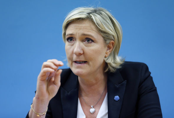 """Marine Le Pen said the arrests are part of a """"political dirty tricks"""" campaign"""