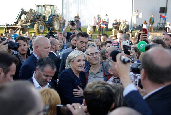 Marine Le Pen met rural supporters at a rally near Limoges