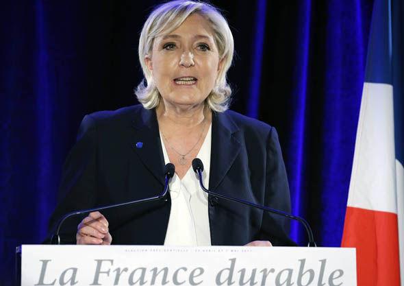 Front National leader Marine Le Pen speaking