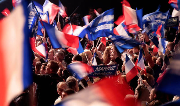 Supporters of Front National leader Marine Le Pen