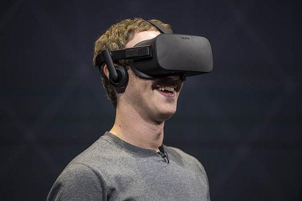 Mar Zuckerberg wearing an oculus rift device