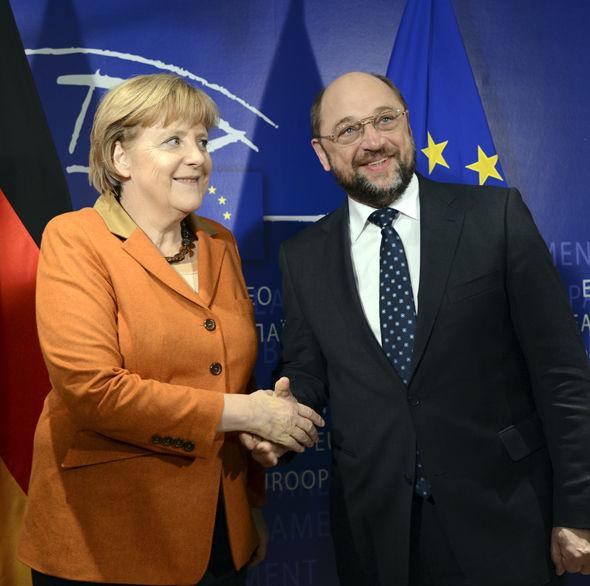 Martin Schulz with Chancellor Angela Merkel