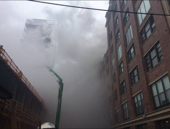 Smoke billowed as buildings were evacuated