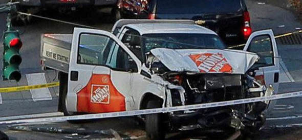 The van used in the terror attack by the man