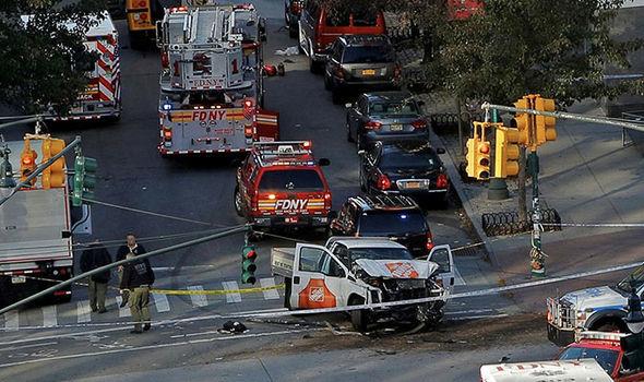 Emergency crews attend the scene on West Street in Manhattan, New York