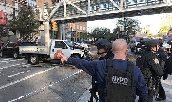 The van in this image is reported to have ploughed into several people in Lower Manhattan