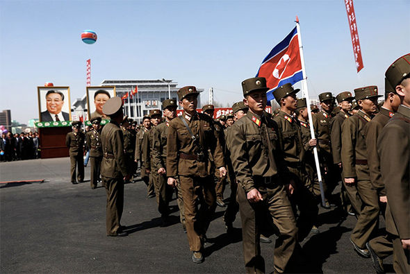 North Korean soldiers marching in a parade