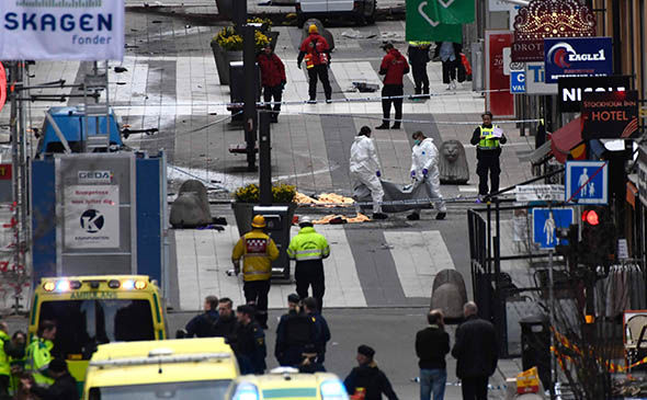 Stockholm police at the scene of the terror attack