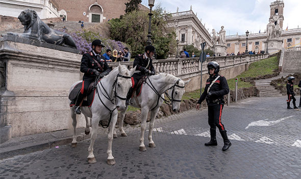 Police roaming the Italian capital