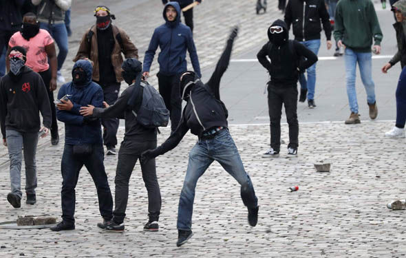 Protestors on the streets of Paris