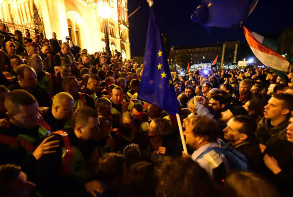 Protestors gather outside Hungary's parliament
