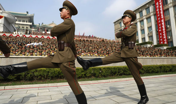 North Korean soldiers march in North Korea