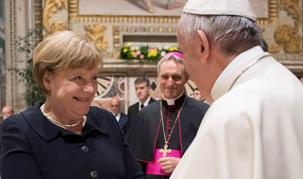 Angela Merkel meets with Pope Francis ahead of the Rome summit