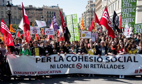 A demonstration against cuts in public education in Barcelona in early March