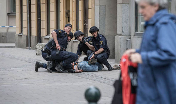 Police tackle attack suspect