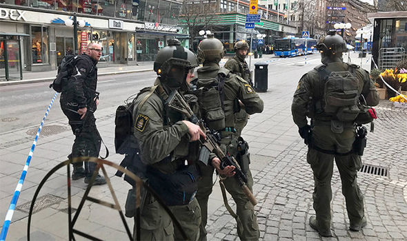 Police on the scene in Stockholm
