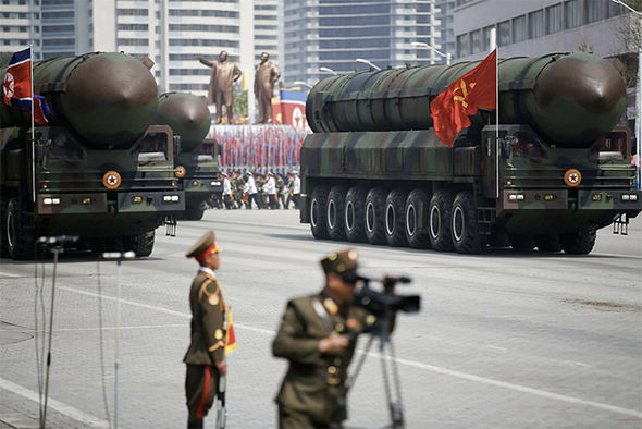 The suspected-ICBMs being paraded in Pyongyang yeaterday