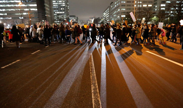 Protestors in Tokyo, Japan