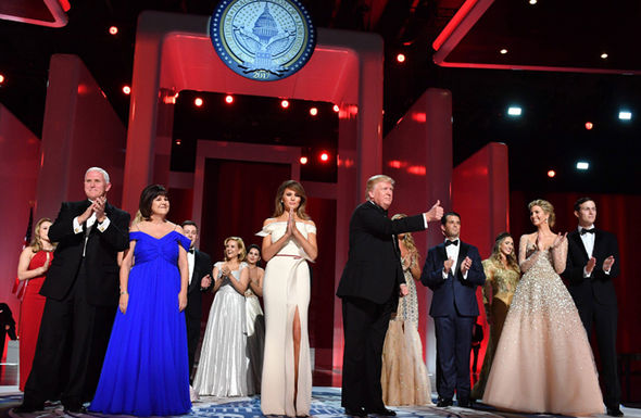 Trump family joins in inauguration dance